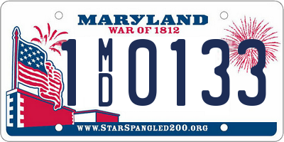 MD license plate 1MD0133