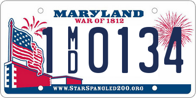MD license plate 1MD0134