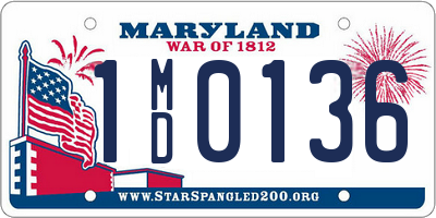 MD license plate 1MD0136