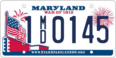 MD license plate 1MD0145