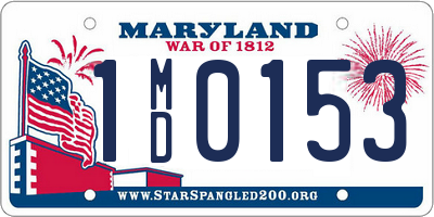 MD license plate 1MD0153