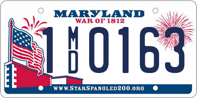 MD license plate 1MD0163