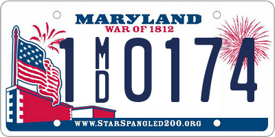 MD license plate 1MD0174