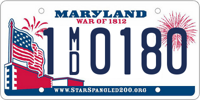 MD license plate 1MD0180