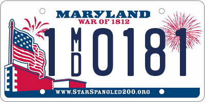 MD license plate 1MD0181