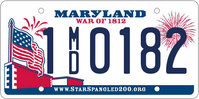 MD license plate 1MD0182