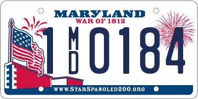 MD license plate 1MD0184