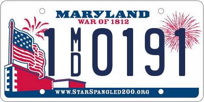 MD license plate 1MD0191