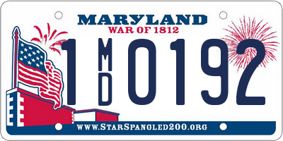 MD license plate 1MD0192