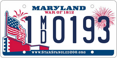 MD license plate 1MD0193