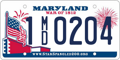 MD license plate 1MD0204