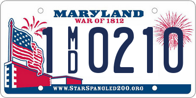 MD license plate 1MD0210
