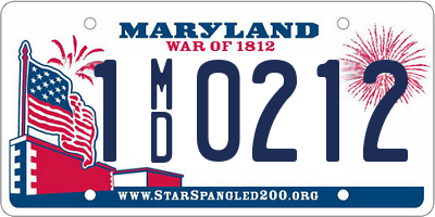 MD license plate 1MD0212