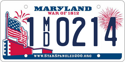 MD license plate 1MD0214
