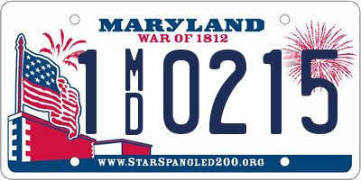 MD license plate 1MD0215
