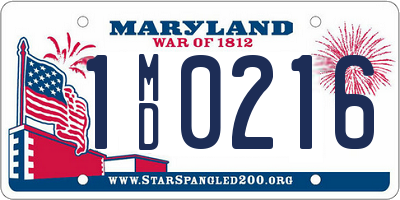 MD license plate 1MD0216