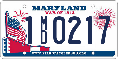 MD license plate 1MD0217