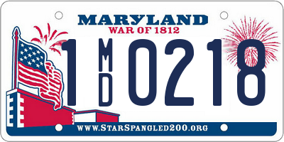MD license plate 1MD0218