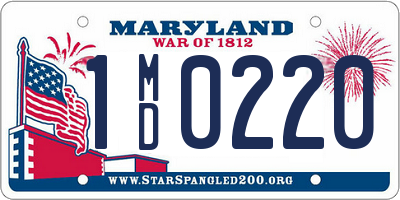 MD license plate 1MD0220