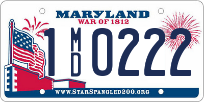 MD license plate 1MD0222