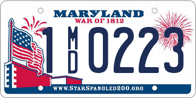 MD license plate 1MD0223