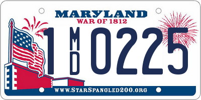 MD license plate 1MD0225