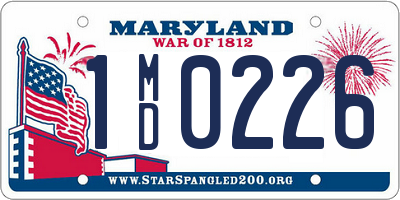 MD license plate 1MD0226