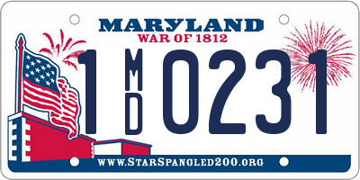 MD license plate 1MD0231