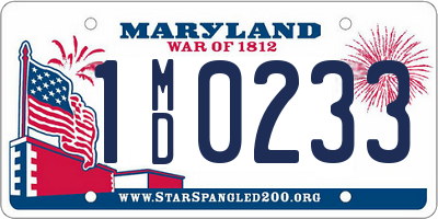 MD license plate 1MD0233