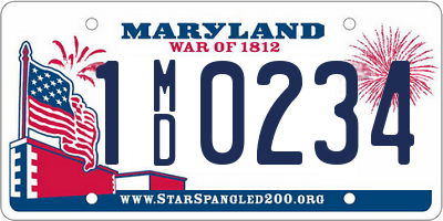 MD license plate 1MD0234