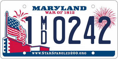 MD license plate 1MD0242