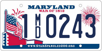 MD license plate 1MD0243