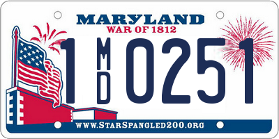 MD license plate 1MD0251