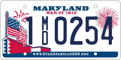 MD license plate 1MD0254