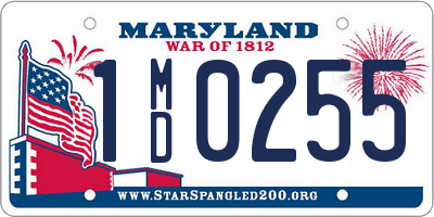 MD license plate 1MD0255