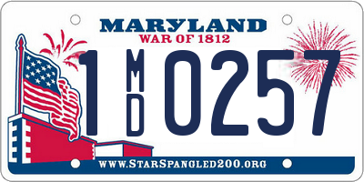 MD license plate 1MD0257
