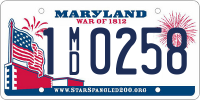 MD license plate 1MD0258