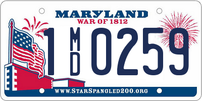 MD license plate 1MD0259