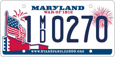 MD license plate 1MD0270