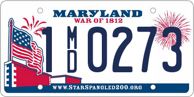 MD license plate 1MD0273