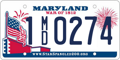 MD license plate 1MD0274