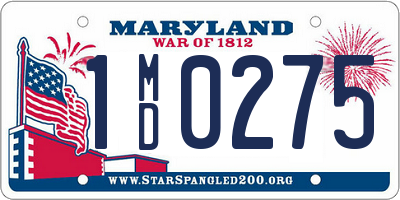 MD license plate 1MD0275