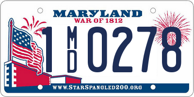 MD license plate 1MD0278