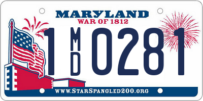 MD license plate 1MD0281