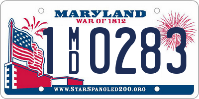 MD license plate 1MD0283