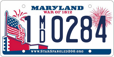 MD license plate 1MD0284