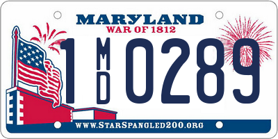 MD license plate 1MD0289
