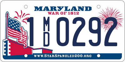 MD license plate 1MD0292