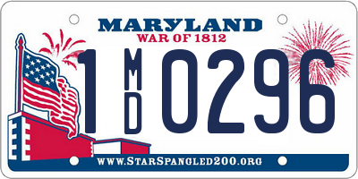 MD license plate 1MD0296