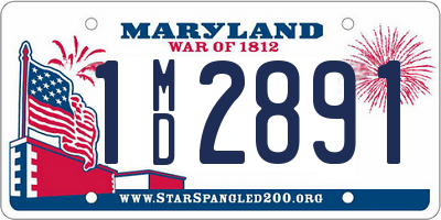 MD license plate 1MD2891